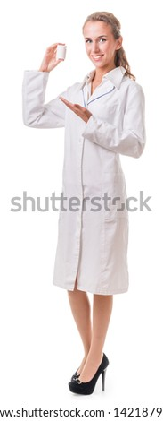 portrait of a woman - health worker. Isolation on white background with clipping path - stock photo