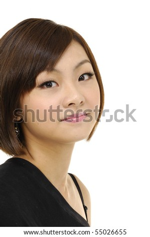 portrait of a woman in studio - stock photo