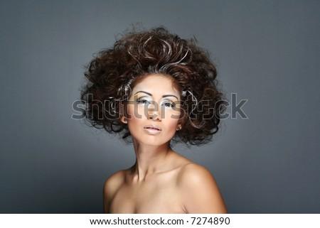 portrait of a woman in studio - stock photo