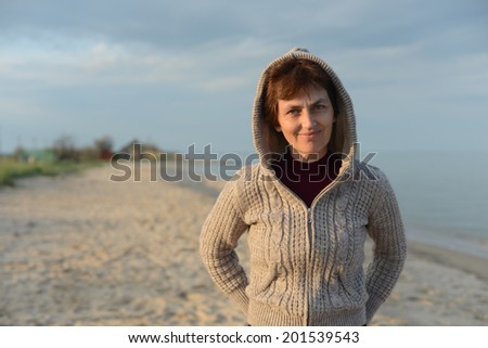 Portrait of a woman in the hood  - stock photo
