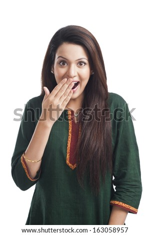 Portrait of a woman surprised - stock photo
