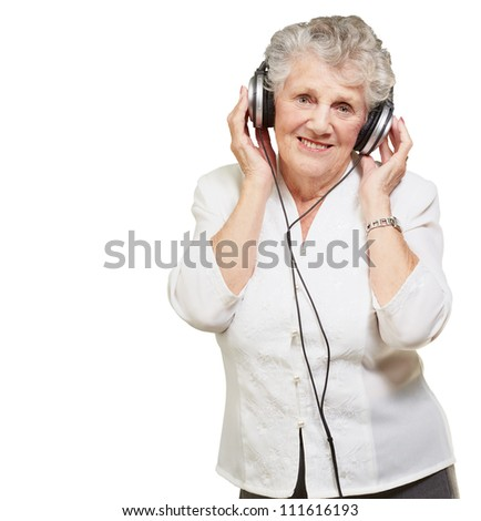 Portrait Of A Woman, While Listening Music On White Background - stock photo