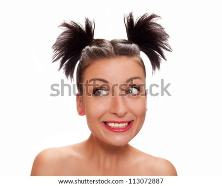 portrait of a woman with a grin isolated on white - stock photo