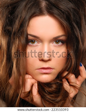 portrait of a woman with beautiful hair - stock photo