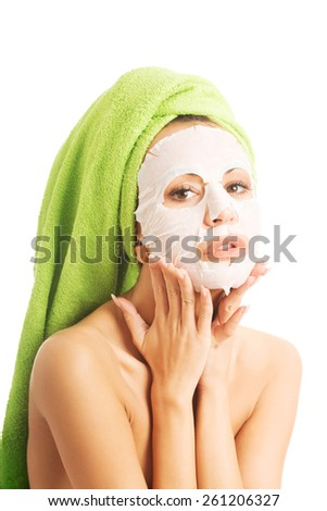 Portrait of a woman with face mask. - stock photo