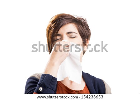 Portrait of a woman with flu, isolated over a white background - stock photo
