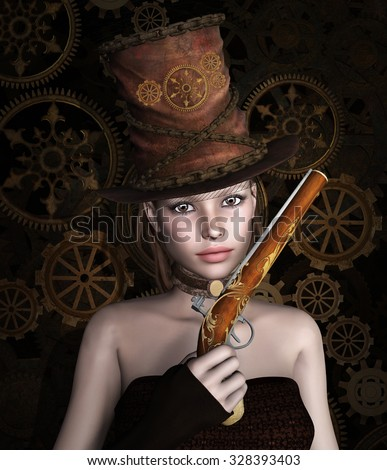 Portrait of a woman with gun - stock photo