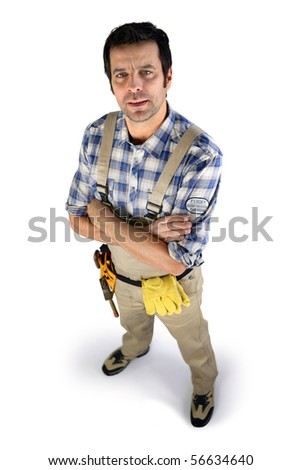 Portrait of a worker in overalls on white background - stock photo