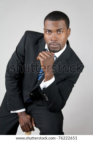 Portrait of a young African American business man. - stock photo