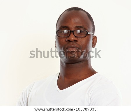 Portrait of a young african american isolated on white background - stock photo