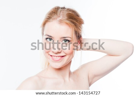 Portrait of a young and beautiful woman - stock photo
