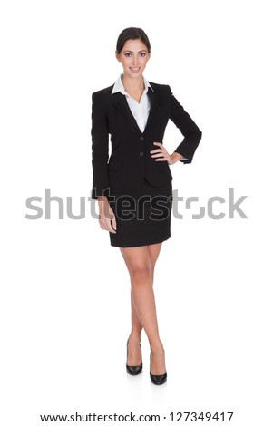 Portrait Of A Young Attractive Business Woman. Isolated On White - stock photo