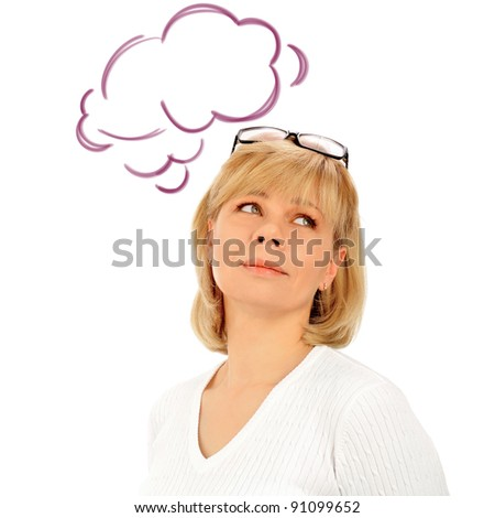 Portrait of a young attractive business woman. Isolated on white background. Blank cloud balloon with er thoughts overhead - stock photo
