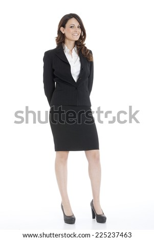 Portrait of a young attractive business woman on white background - stock photo