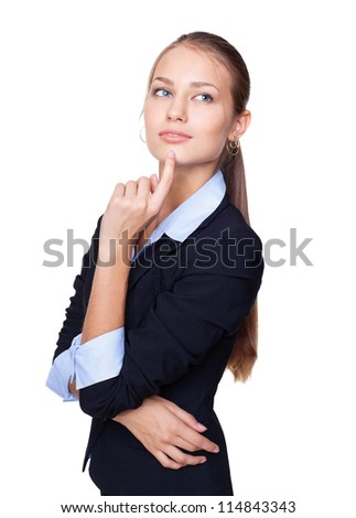 Portrait of a young attractive business woman thinking with hand on chin isolated on white background - stock photo