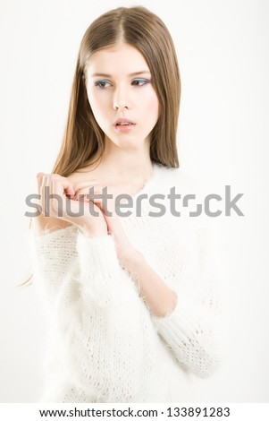 Portrait of a young attractive girl - stock photo