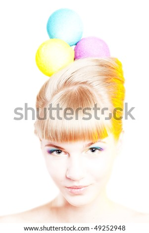 Portrait of a young attractive woman with creative make-up and hair-style like an ice-cream - stock photo