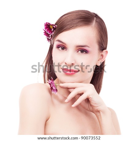 portrait of a young beautiful brunette woman with flowers in her hair, isolated against white background - stock photo