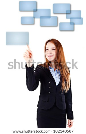 Portrait of a young beautiful  business woman pressing on a virtual button interface (concet pt) - stock photo