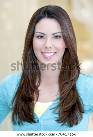 Portrait of a young beautiful Caucasian woman, focus on girl's face - stock photo