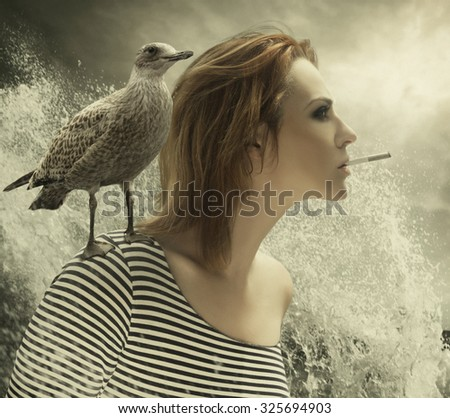 Portrait of a young beautiful female captain with seagull on a shoulder. Digital manipulations/Sea Captain - stock photo
