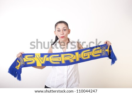 Portrait of a young beautiful girl sweden fan. - stock photo