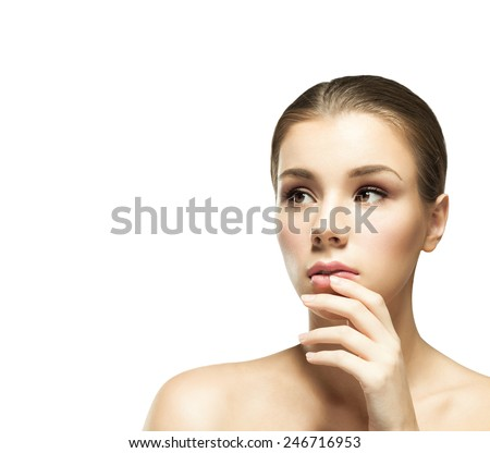 Portrait of a young beautiful woman with clear healthy perfect skin on a white background isolated. Beauty model woman face  - stock photo