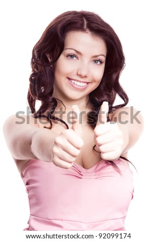 portrait of a young beautiful  woman  with two thumbs up, isolated against white background - stock photo