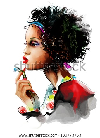 Portrait of a young black woman - stock photo
