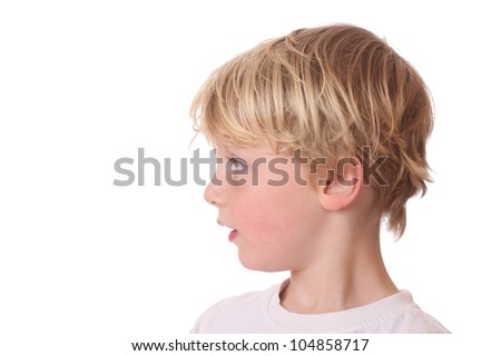 Portrait of a young blond boy on white background - stock photo