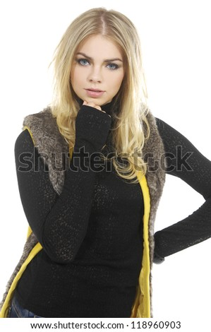Portrait of a young blond woman wearing casual clothes - stock photo