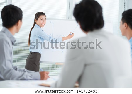 Portrait of a young business lady presenting a new idea for the partners - stock photo