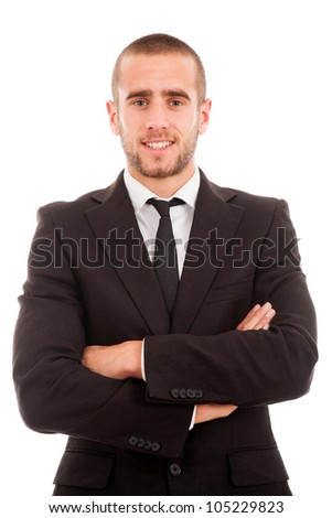 Portrait of a young business man isolated on white background. - stock photo