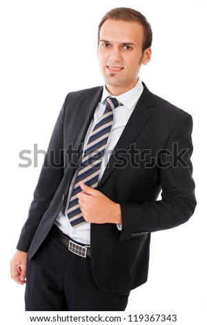 Portrait of a young business man white background - stock photo