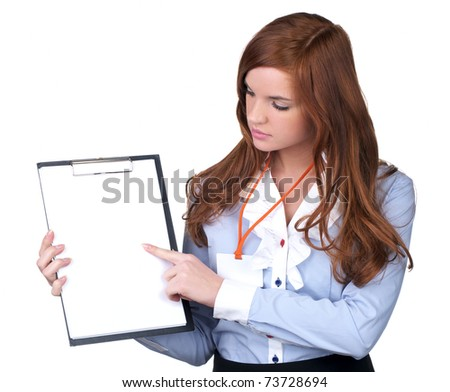 Portrait of a young business woman holding a blank clipboard with white paper - stock photo
