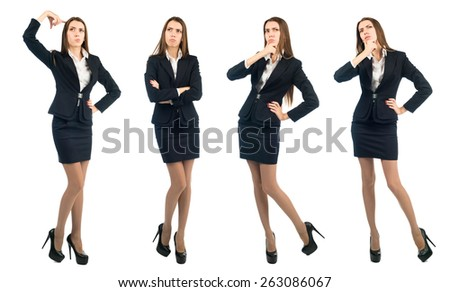 portrait of a young business woman in full growth. woman is something to think about. Isolated white background - stock photo