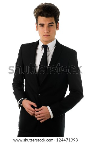 Portrait of a young businessman, isolated on white background - stock photo