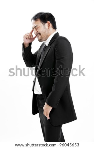 Portrait of a young businessman thinking. - stock photo