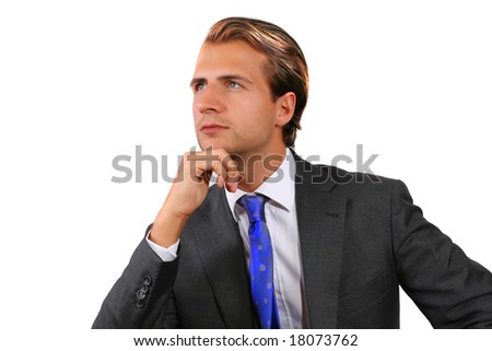 Portrait of a young businessman (thinking about the future) - stock photo