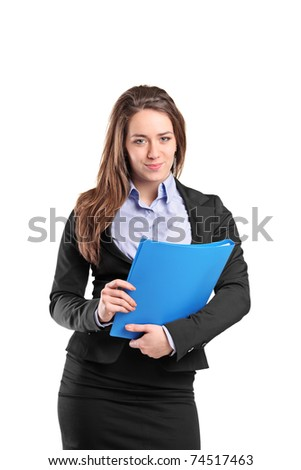Portrait of a young businesswoman holding documents isolated on white background - stock photo