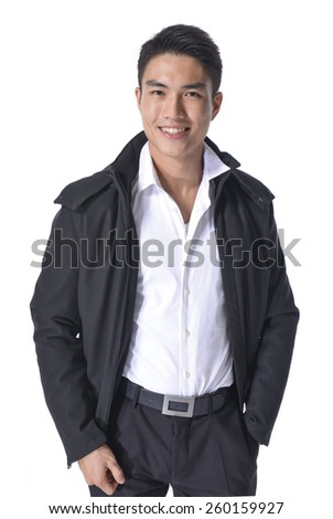 portrait of a young casual young man posing - stock photo