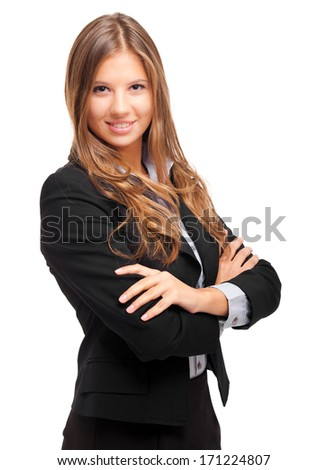 Portrait of a young charming businesswoman isolated on white - stock photo