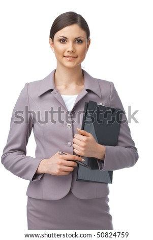 Portrait of a young confident businesswoman holding a clipboard - stock photo