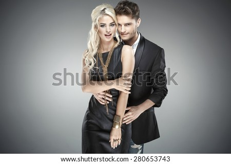 Portrait of a young elegant people - stock photo