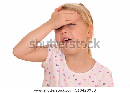 Portrait of a young girl covering her eyes on white background - stock photo