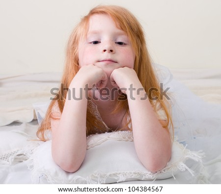 Portrait of a young girl dreaming. - stock photo