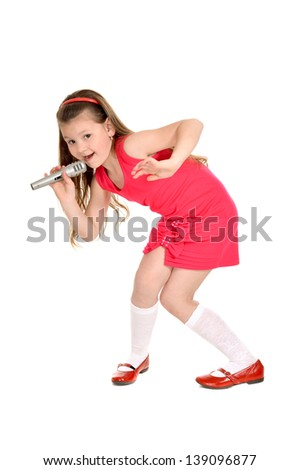 Portrait of a young girl in a red dress singing on a white background - stock photo
