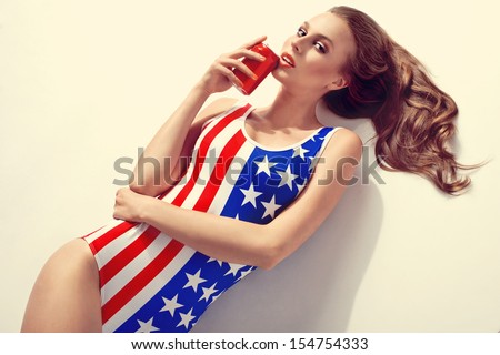 Portrait of a young girl in fashionable swimsuit  - stock photo