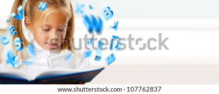 Portrait of a young girl in school at the desk. Reading book and dreaming. Graphic 3d symbols flying around her - stock photo