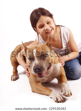 Portrait of a young girl with his best friend. - stock photo